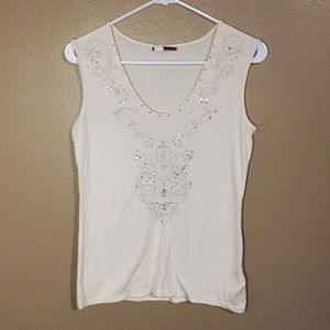 Anthropologie tapemeasure beaded super soft tank